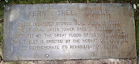 FERN TREE BOWER - These inscribed stones were salvaged from the original water tower erected in 1861 and destroyed by the Great Flood of 23rd April 1960. This tablet is erected by the Hobart City Council to commemorate its rehabilitation in 1961. - 30th January 2008