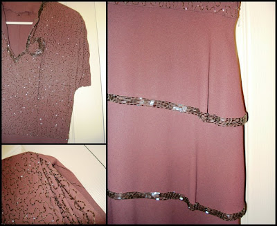 tiered dress, handsewn beads, mauve