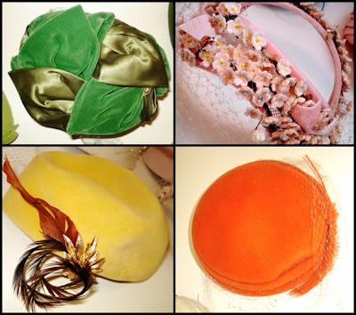 green velvet, yellow velvet, orange velvet, pink flowers, feathers, leaf hat