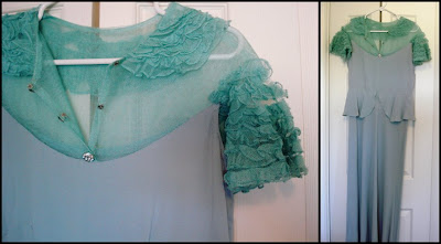 light blue, teal, ruffles, crepe