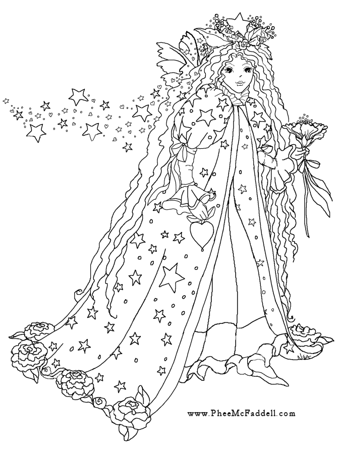 fantasy realistic fairy coloring pages - photo#48