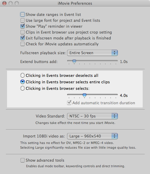 Unlocking iMovie '08: How to select an entire clip with one