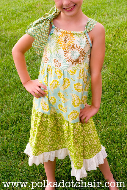 Tiered Pillowcase Dress Sewing Tutorial on polkadotchair.com