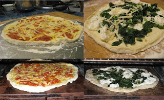 Photo collage of two pizzas on baking stones