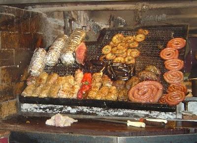 Parrillada: Uruguayan beef barbecue at Mercado del Puerto, Montevideo. Asado with achuras (offal) and sausages
