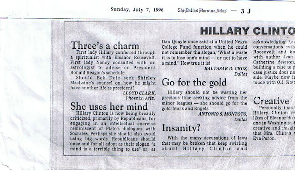 Baltasar D. Cruz re: Hillary Clinton and Republicans, July 7, 1996