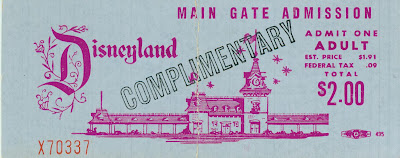 Vintage Disneyland Tickets: Main Gate Complimentary Tickets