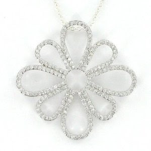 ccbafd471ab7 Ramona Singer Sterling Silver Pierced Flower Necklace with Crystal CZ Stones
