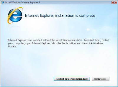 IE8 Installation is complete