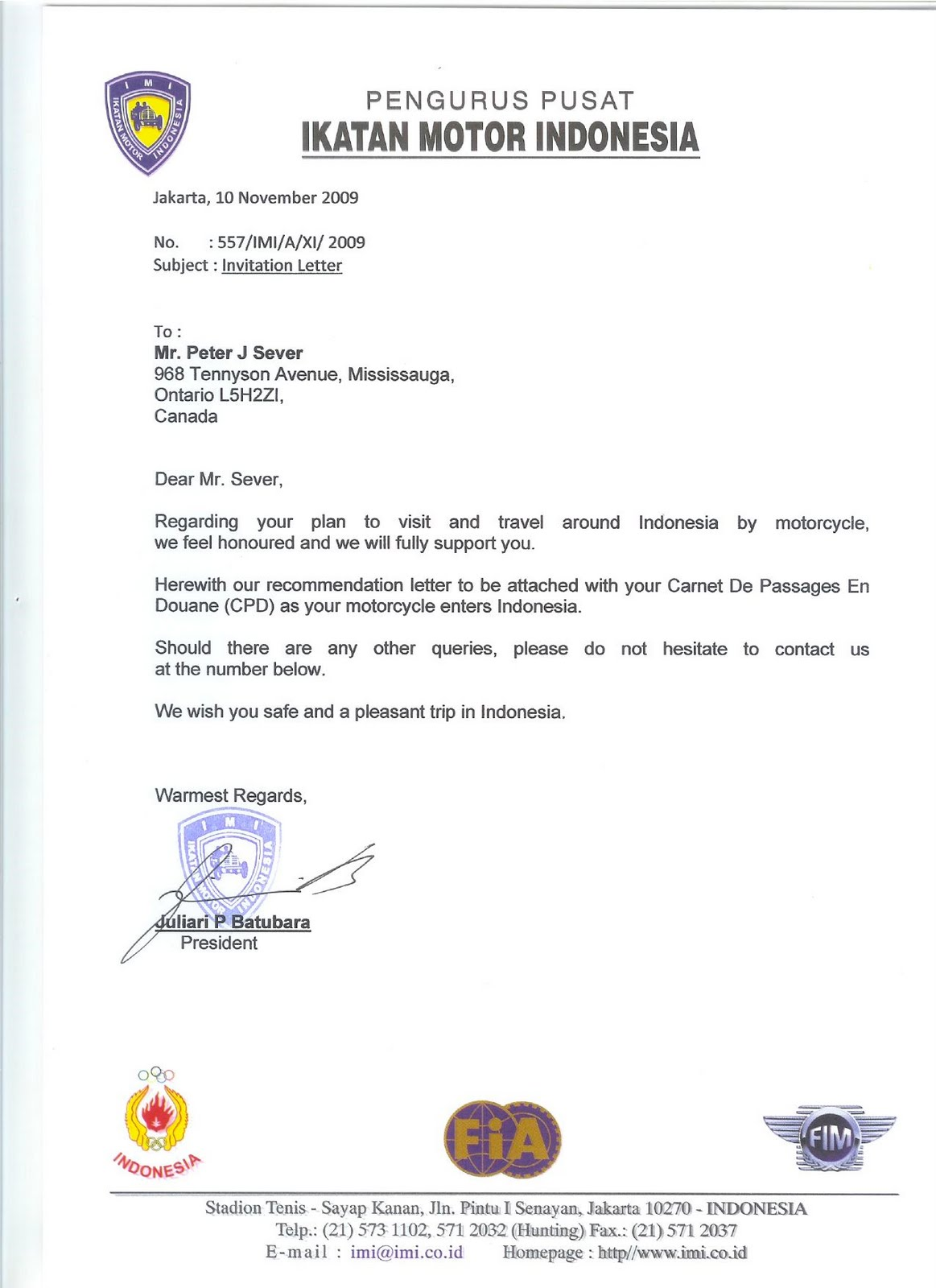 90 SAMPLE INVITATION LETTER BUSINESS VISA INDONESIA