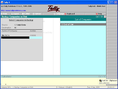 Tally 9 Backup Screen