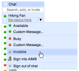 Google chat invisible