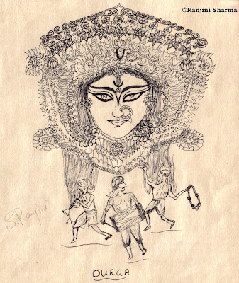 Whats goddess durga without her tiger this furry feline has been etched with a black ball point pen hope she likes him