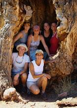 Happy Friends in a Tree Skeleton - Sierra's Hike '08