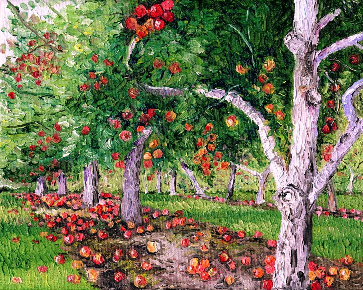 Audra's Oil Paintings: Apple Orchard (2010), 8 x 10""