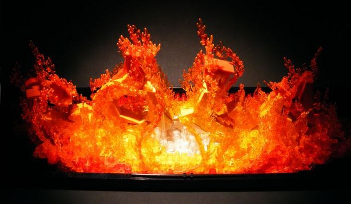 Fire effect created from lego