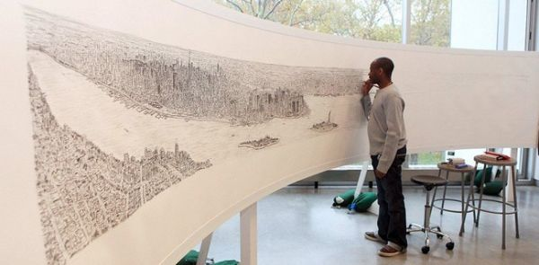 Panorama drawing of New York City from memory: 05 Pics+video