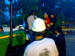 Flood in Sunter Agung Podomoro, North Jakarta, on February 2008, To accompany the official employees go home with John Deere farm tractor