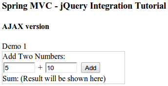 krams::: Spring MVC 3 and jQuery Integration Tutorial