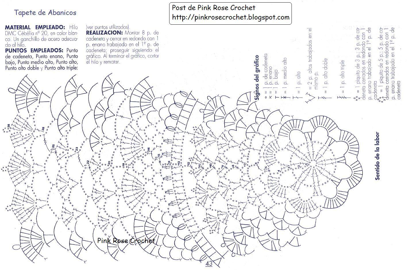 Pink Rose Crochet Toalhinha Redonda Com Ponto Leques