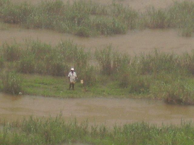 um homem pescando na chuva [ a man fishing in rain ]