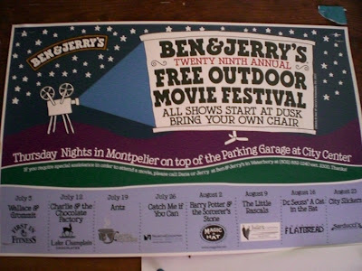 Ben & Jerry's Outdoor Movie Festival in Waterbury, Vermont