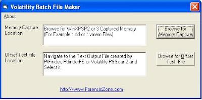 ForensicZone: Volatility Batch File Maker