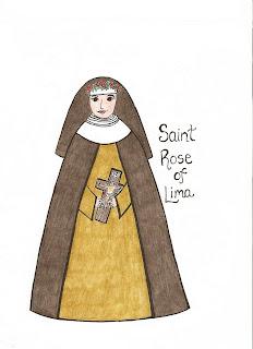 Paper dali saint rose of lima santa rosa de lima for St rose of lima coloring page