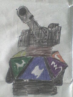 Dibujo Realizado por varios estudiantes donde imitan una carta de juego de Yu-Gi-Oh