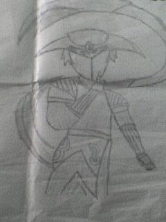 dibujo de un niño de 3 de primaria, imitando algunos de los mounstros de la serie, Yu-Gi-Oh