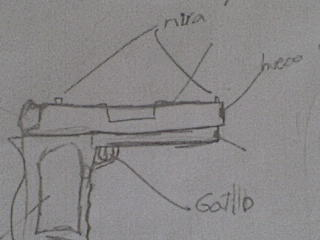 En este dibujo los estudiantes, explican las partes de un arma del videojuego, Halo