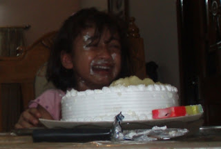 birthday girl crying for cake