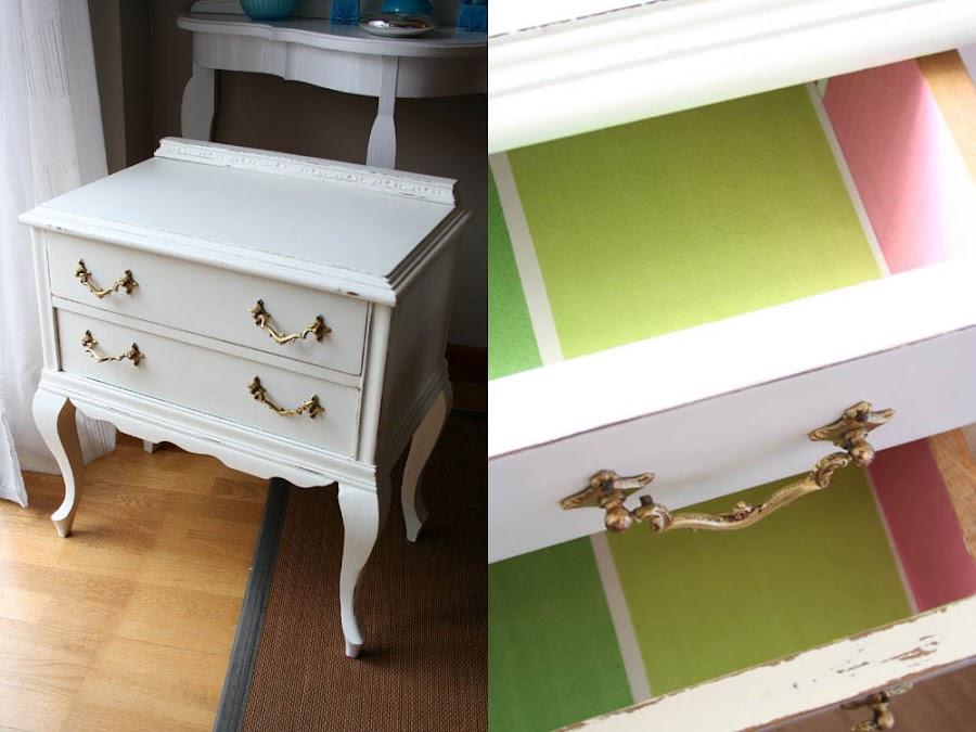 Muebles reciclados con papel pintado decoraci n - Como reciclar muebles ...