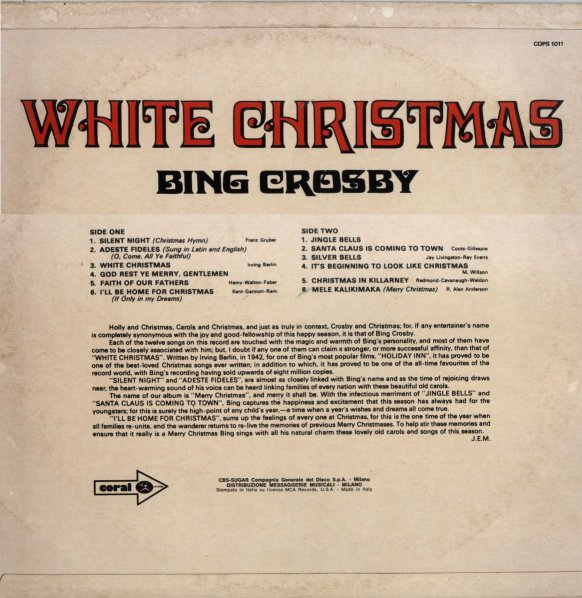 Bing Crosby Merry Christmas.Rock On Vinyl W O C K On Vinyl Bing Crosby White