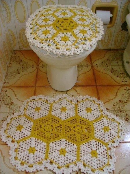 Tapetes de barbante em croche  banheiro