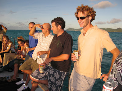 Soccer guys on boat cruise