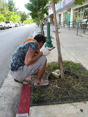 Picking up cigarette butts