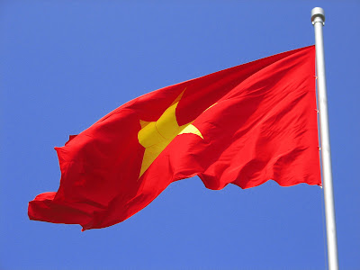 Vietnamese Flag in front of Ho Chi Minh Grave