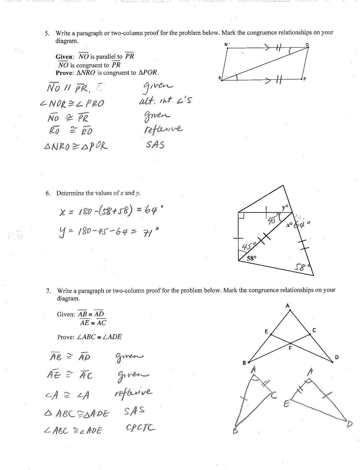 Jiazhen S Geometry Unit3 Chapter Test Review Sheet Answer