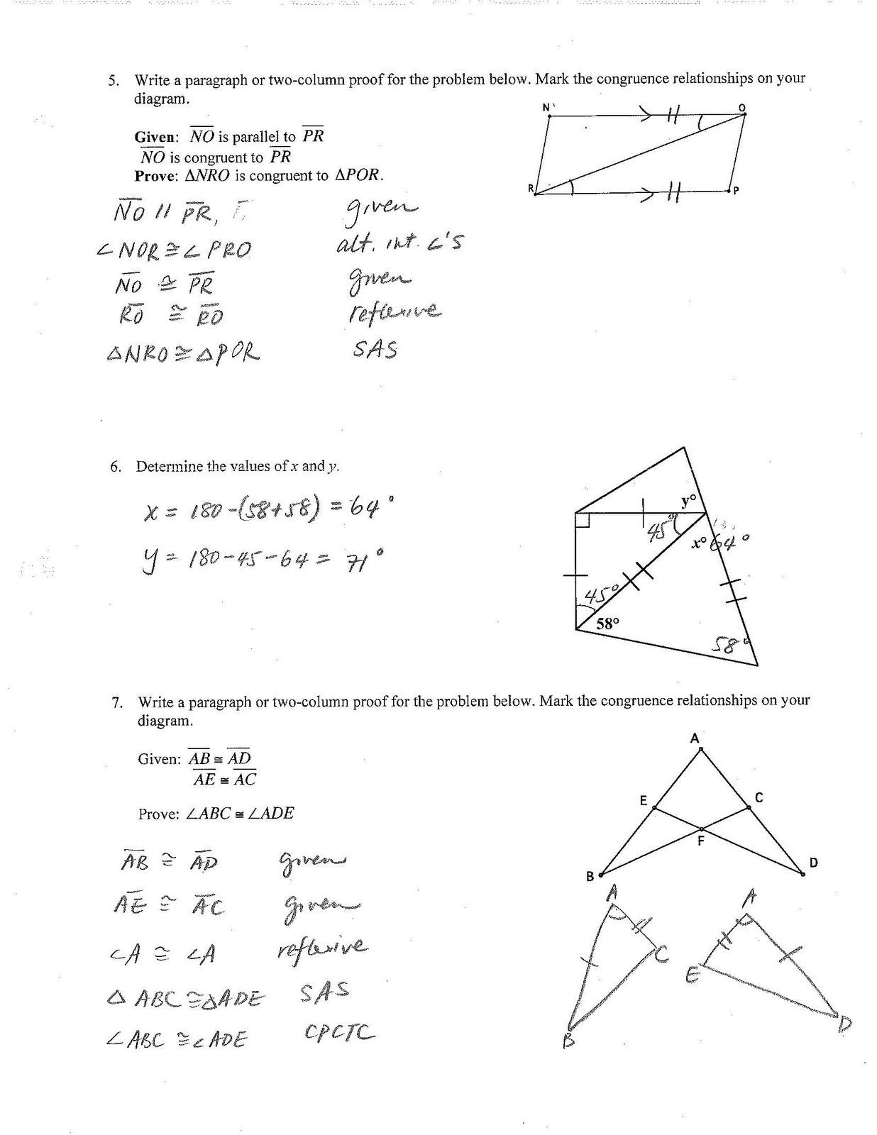 Jiazhen S Geometry Unit3 Chapter Test Review Sheet Answer