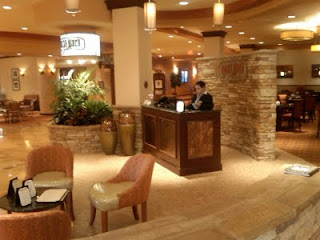 Lobby of Embassy Suites in San Marcos is comfortable and conducive to informal get-togethers