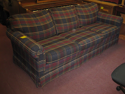 UHURU FURNITURE & COLLECTIBLES SOLD Broyhill Plaid Couch 100