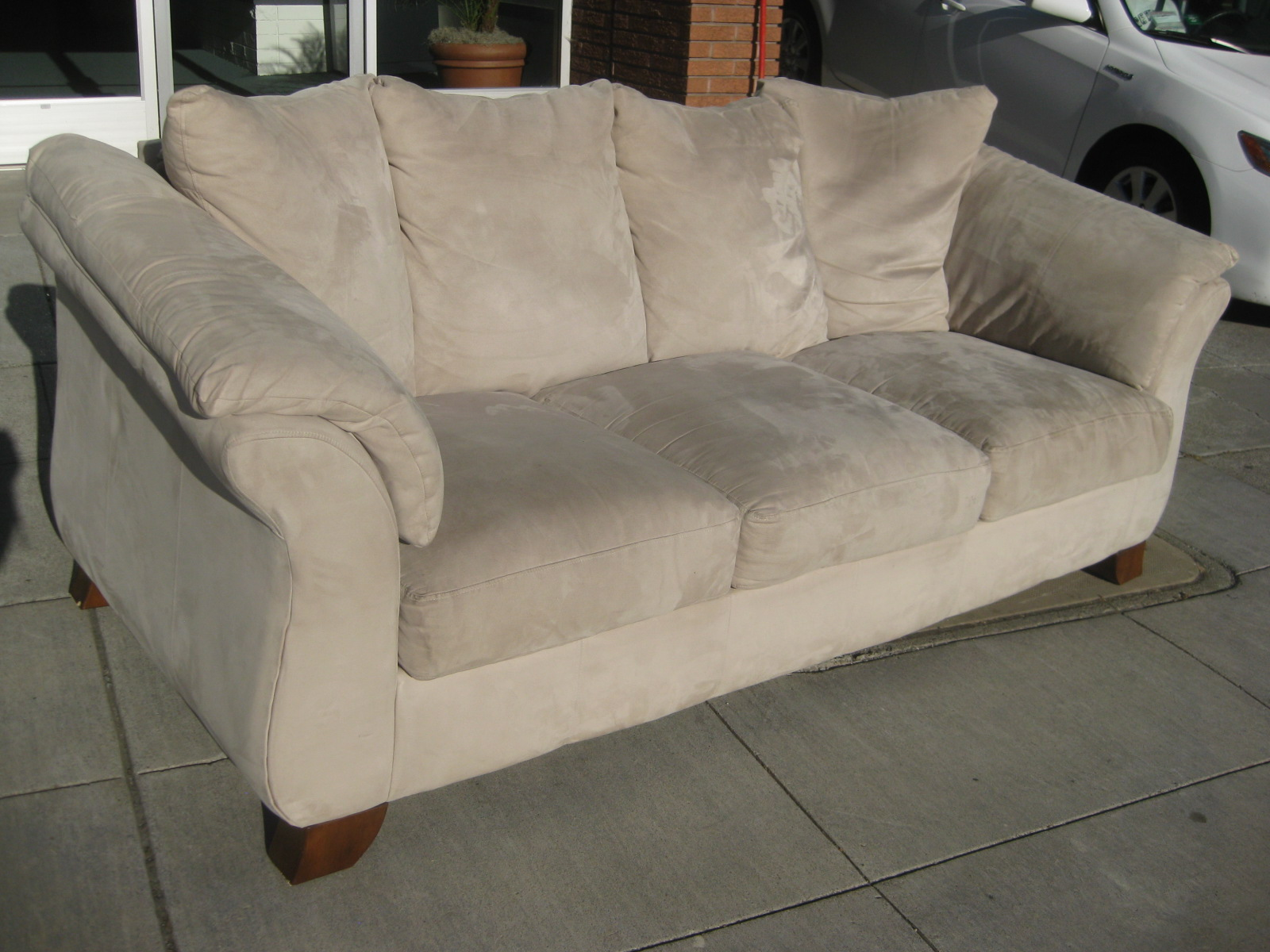SofaMicrosuedeBeige Ffo Home Furniture Sofas on discontinued pa house furniture, big lots furniture, ashley furniture, cabela's furniture, home stretch furniture,