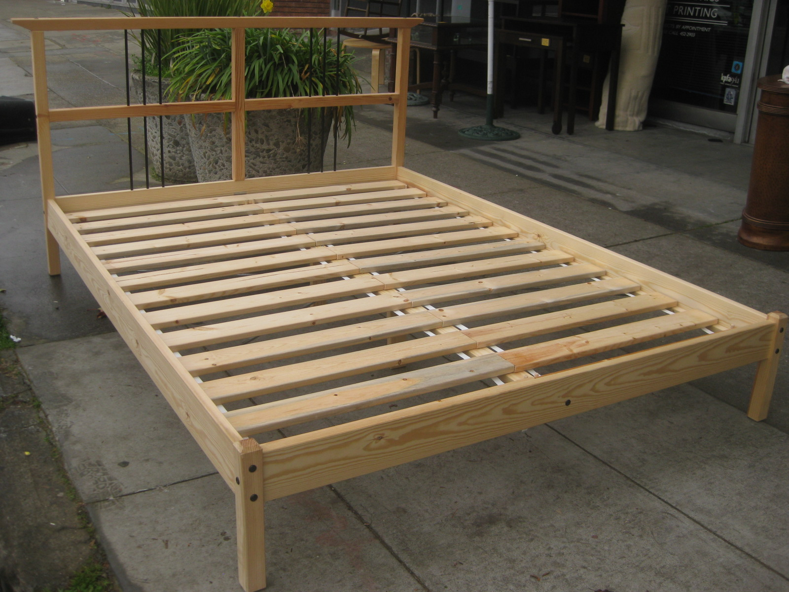 Sold Queen Pine Platform Bed Frame 90