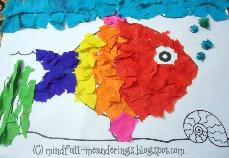 Fish Craft Ideas For Kids Part - 49: Rainbow Fish Crepe Paper Collage Art