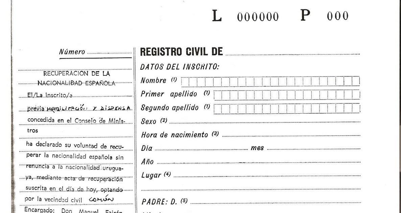 Nacionalidad Española: Anotaciones marginales
