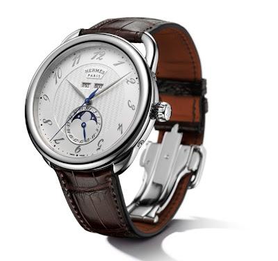Hermès Arceau Grande Lune automatic watch with Dubois-Dépraz 9313 Large Moon module