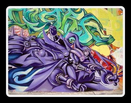 Cool Graffiti Mural Purple Style Design