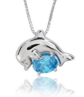 Image: Sterling Silver and Oval-Cut Sky Blue Topaz Jumping Dolphin Pendant