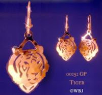 tiger earrings gold french curve